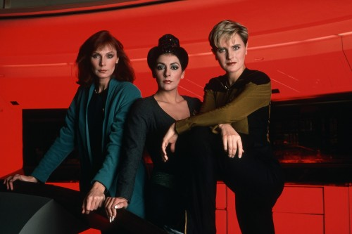 star trek the next generation – left to right – gates mcfadden as dr crusher – marina sirtis as counsellor deanna troi and denise crosby as security chief tasha yar