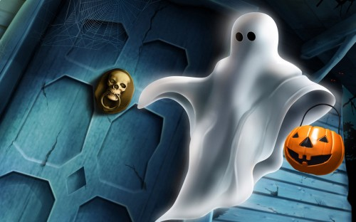 ghost tricker or treater wallpaper 500x312 ghost tricker or treater wallpaper