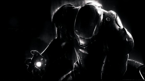iron man in black and white