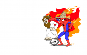 somberro wearing spider man punches jesus on a unicycle 300x188 somberro wearing spider man punches jesus on a unicycle