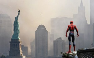 spider man looking at lady liberty 300x187 spider man looking at lady liberty
