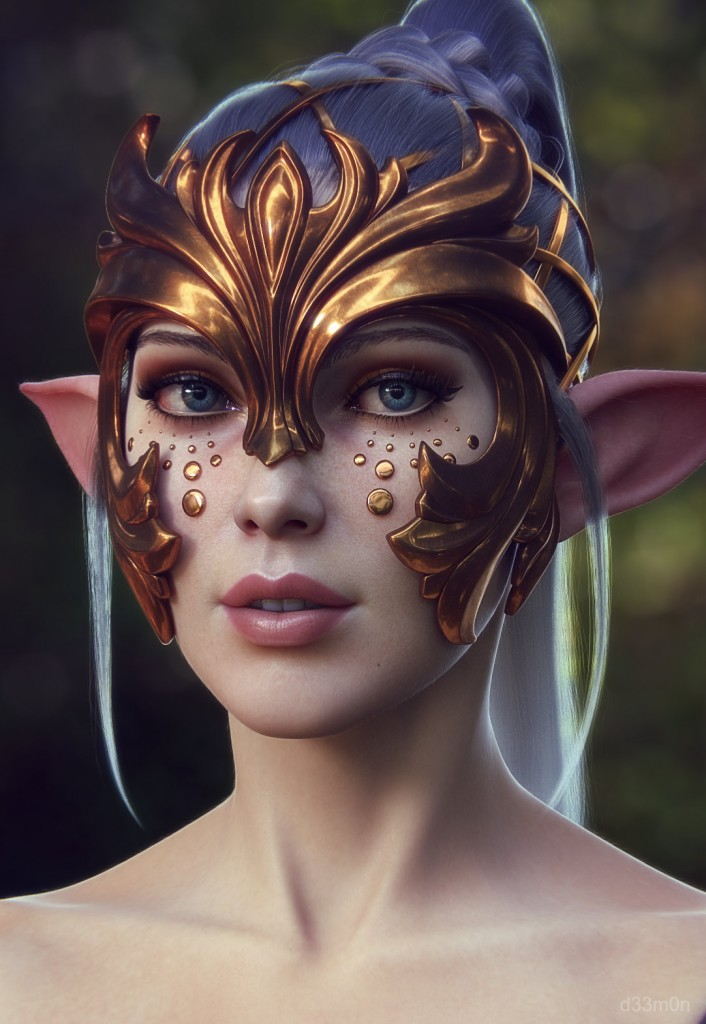 Elven ears and armored helmet