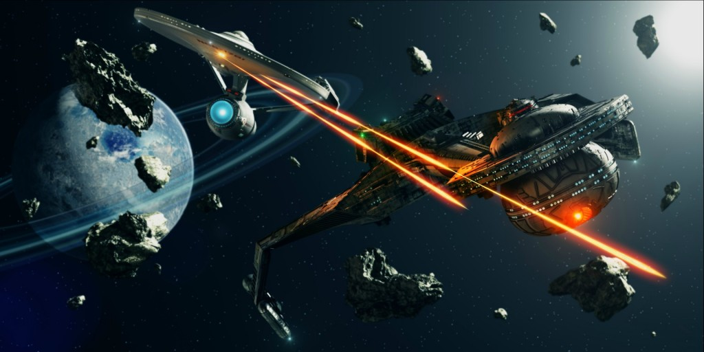 The Enterprise fights some klingons 1024x512 The Enterprise fights some klingons