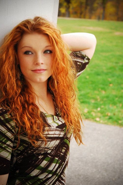 red head holding her hair