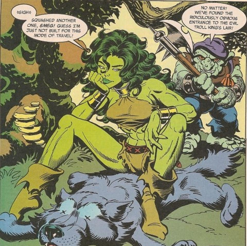 She Hulk sits on another one She Hulk sits on another one