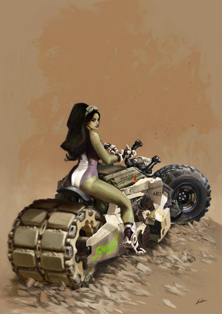 she hulk on a tracked duel tire motorcycle 724x1024 she hulk on a tracked duel tire motorcycle