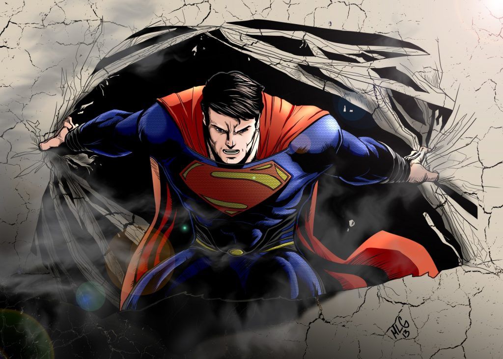 Superman ripping open a wall 1024x731 Superman ripping open a wall