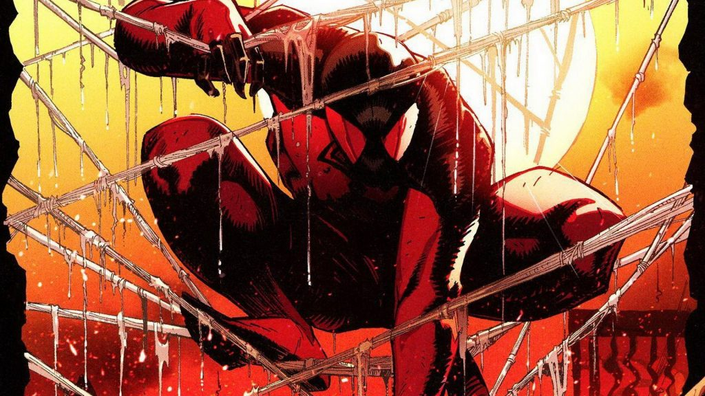 Spider-man in his own goopy webs