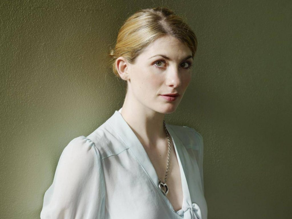 Actress Jodie Whittaker in a heart necklace